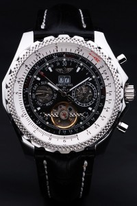 Replica Breitling Bentley 6.75 Black Dial Leather Strap Watch