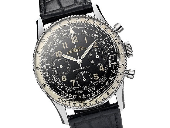 Replica Breitling Navitimer Black Dial Black Leather Steel Watch