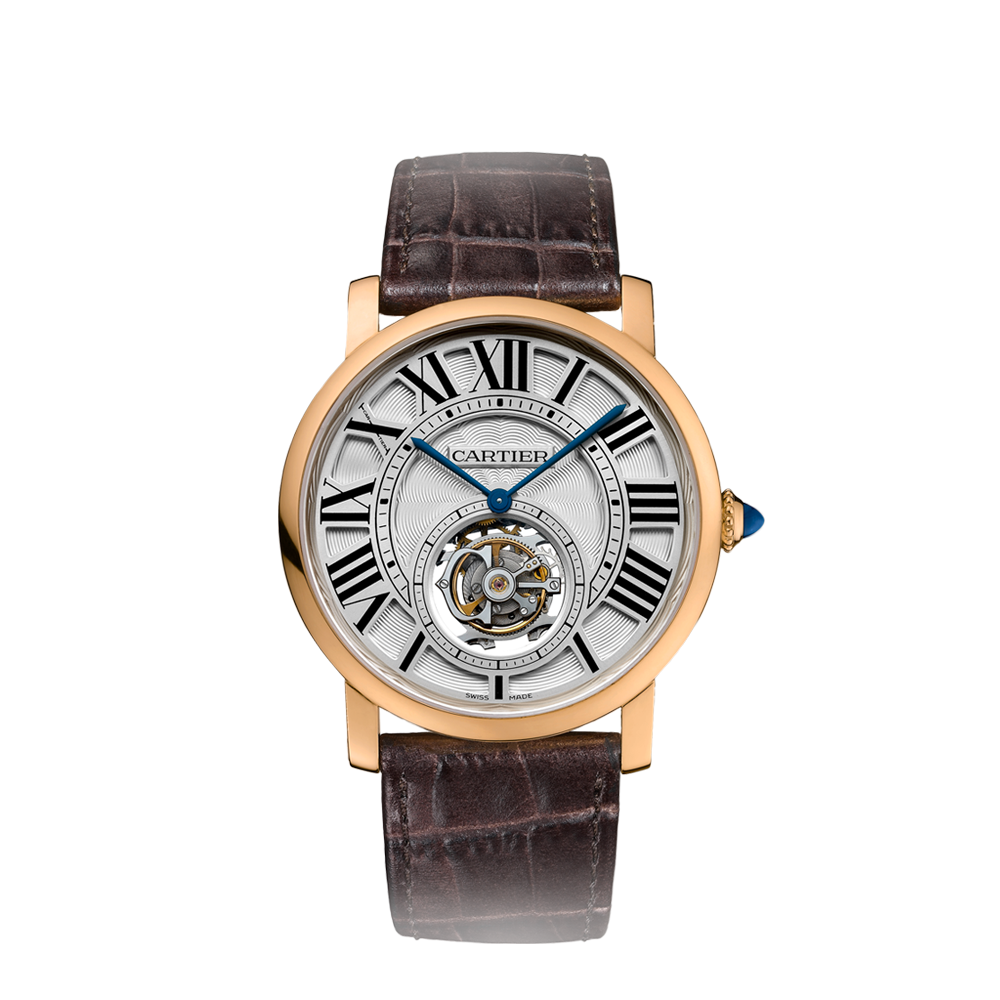 Replica Cartier Rotonde de Cartier Rose Gold Leather Watches