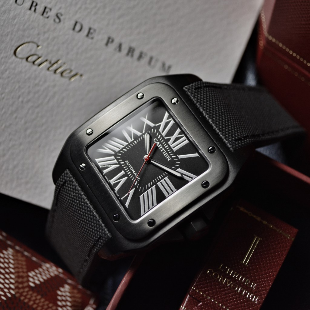 cartier santos 100 black carbon ADLC replica watch re-launched for 2016